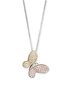 Bloomingdale's - Diamond Pavé Butterfly Pendant in 14 Kt. White, Yellow and Rose Gold, 0.40 ct. t.w. - 100% Exclusive
