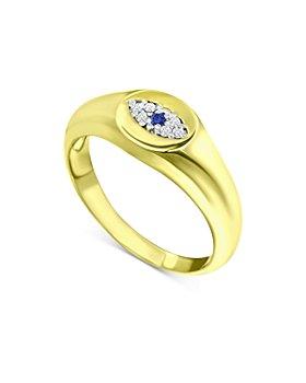Bloomingdale's - Diamond & Blue Sapphire Evil Eye Signet Pinky Ring - 100% Exclusive