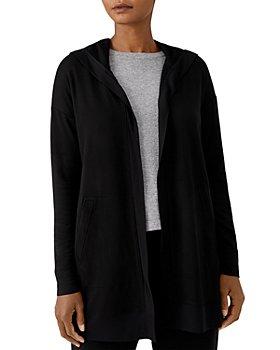 Eileen Fisher - Open Front Long Hooded Sweatshirt