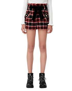 Maje - Itrit Checked Shorts With Velvet Belt