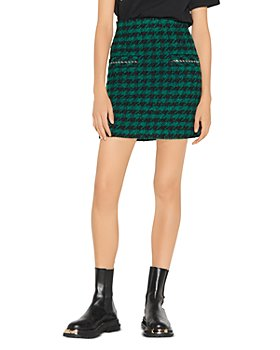 Sandro - Claudie Houndstooth Tweed Mini Skirt