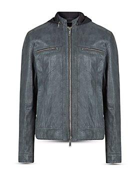 John Varvatos Star USA - Trace Slim Fit Leather Trucker Jacket