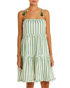 Tory Burch - Striped Tiered Cover Up Dress