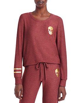 CHASER - Long Sleeve Skull & Stripes Pullover Top