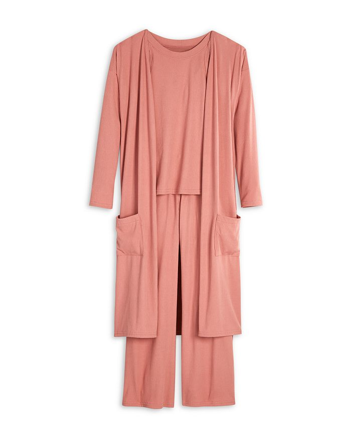 AQUA - Girls' Ribbed Top, Duster & Lounge Pants - Big Kid - 100% Exclusive