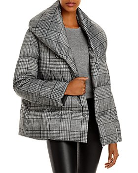 Theory - Glen Plaid Shawl Puffer Coat