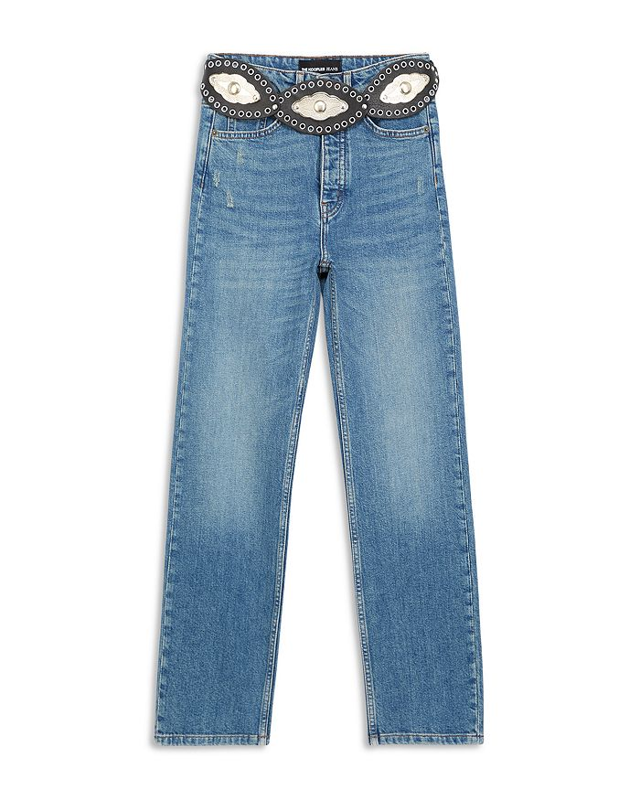 The Kooples - Belted Straight Leg Jeans in Blue
