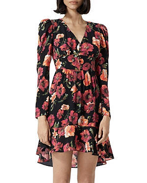 The Kooples FLORAL PRINT SILK MINI DRESS