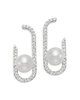 Bloomingdale's - Cultured Freshwater Pearl & Diamond Paperclip Earrings in 18K White Gold - 100% Exclusive