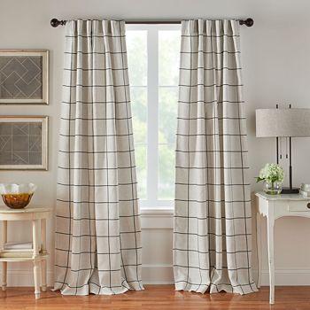"Elrene Home Fashions - Brighton Windowpane Plaid Blackout Window Curtain Panel, 52"" x 84"""