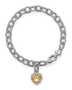 Judith Ripka - Judith Ripka Sterling Silver Single Heart Canary Crystal Charm Bracelet