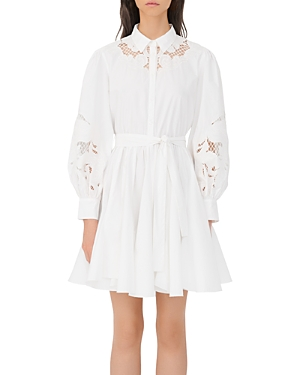 Maje REBELLO COTTON LACE INSET SHIRT DRESS