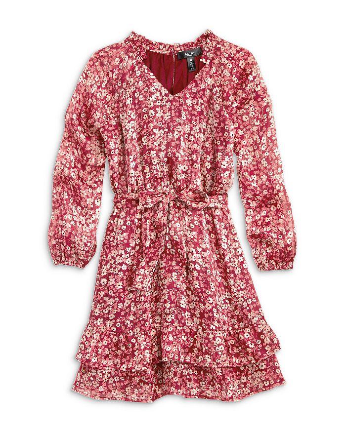 AQUA - Girls' Metallic Floral Long Sleeve Tiered Dress, Big Kid - 100% Exclusive