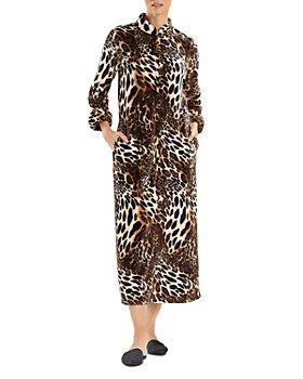Natori - Animal Print Plush Faux Fur Zip Caftan