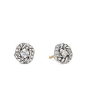 David Yurman - Sterling Silver Petite Infinity Stud Earrings with Diamonds