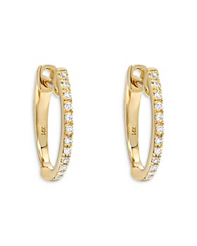 Zoe Lev - 14K Yellow Gold Diamond Huggie Hoop Earrings