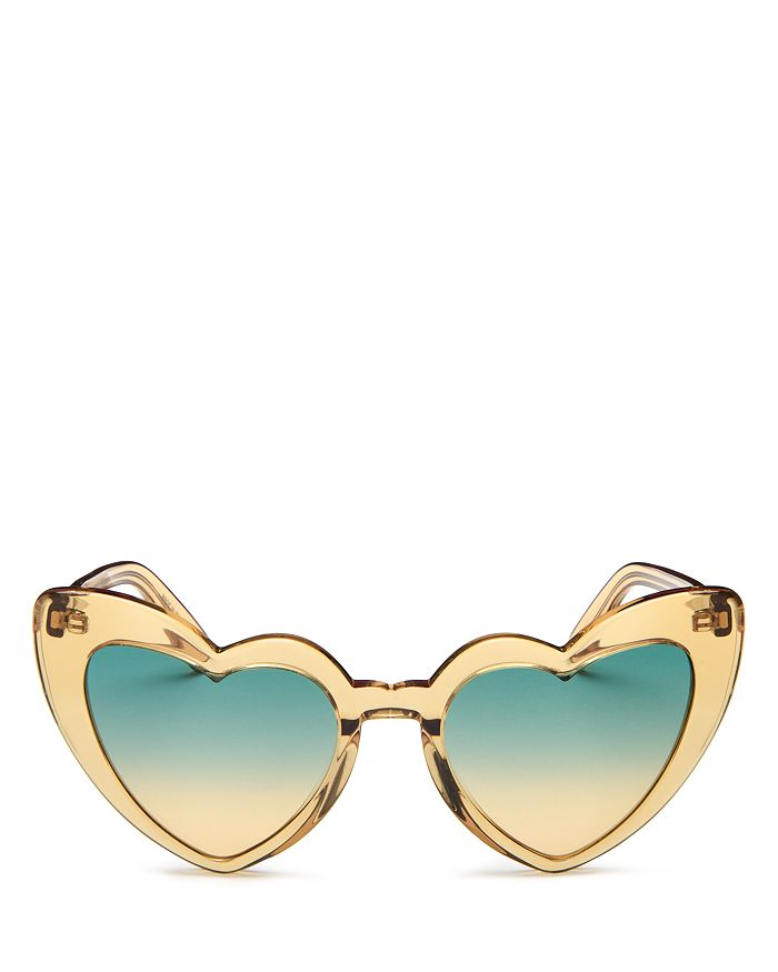 Saint Laurent Women's Heart Shape Sunglasses, 54mm In Gold