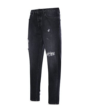 Carrot Fit Distressed Jeans in Black