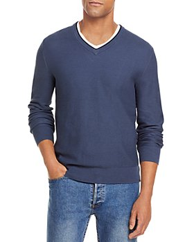 The Men's Store at Bloomingdale's - Tipped Textured Birdseye V-Neck Sweater - 100% Exclusive