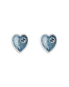 Gucci - Sterling Silver & Enamel Heart Stud Earrings