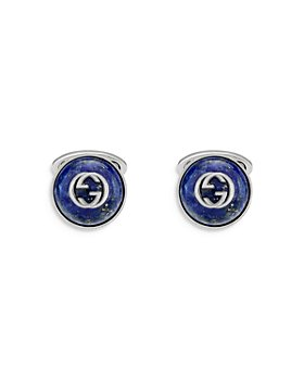 Gucci - Sterling Silver & Lapis Interlocking G Cufflinks