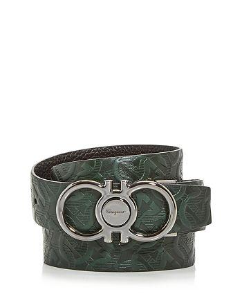 Salvatore Ferragamo - Men's Double Gancini Embossed Leather Belt