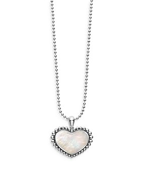 """LAGOS - Sterling Silver Maya Mother of Pearl Inlay Heart Pendant Necklace, 34"""""""