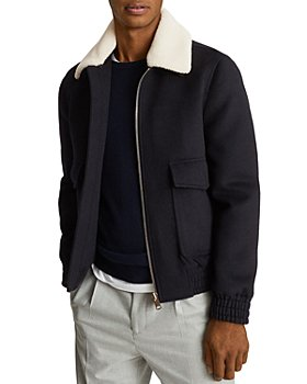 REISS - Rivet Zip-Up Harrington Jacket with Faux Shearling Collar