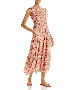Iris Floral Smocked Sleeveless Midi Dress