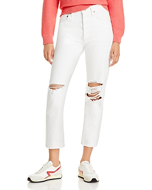 Agolde Riley High Rise Straight Leg Cropped Jeans in Veil (White)