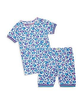Hatley - Girls' Organic Cotton Cheetah Hearts Printed Pajama Set - Little Kid, Big Kid