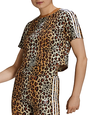 adidas Leopard Print Cropped Tee