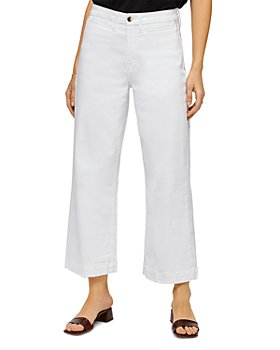7 For All Mankind - Cropped Wide Leg Jeans in White