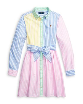 Ralph Lauren - Girls' Colorblock Oxford Striped Shirtdress - Little Kid, Big Kid