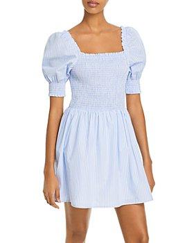 AQUA - Striped Smocked Dress - 100% Exclusive