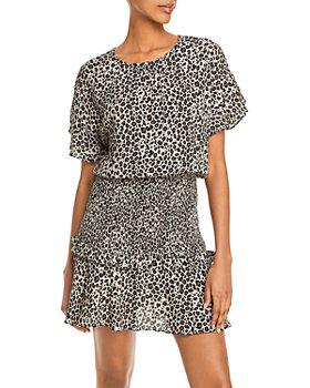 AQUA - Leopard Print Mini Dress - 100% Exclusive