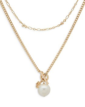 Ralph Lauren - Double-Strand Imitation Pearl Pendant Necklace, 18""