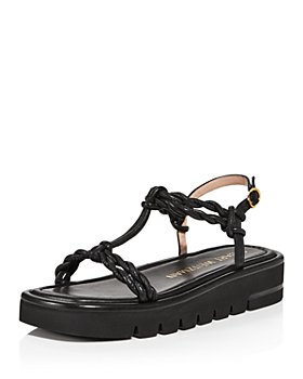 Stuart Weitzman - Women's Calypso Square Toe Twist Strap Leather Lift Sandals
