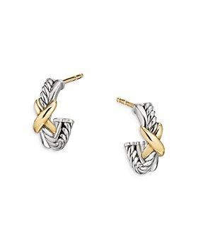 David Yurman - Sterling Silver & 18K Yellow Gold Petite X Mini Hoop Earrings