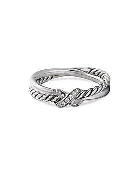 David Yurman - Sterling Silver & Diamond Petite X Ring