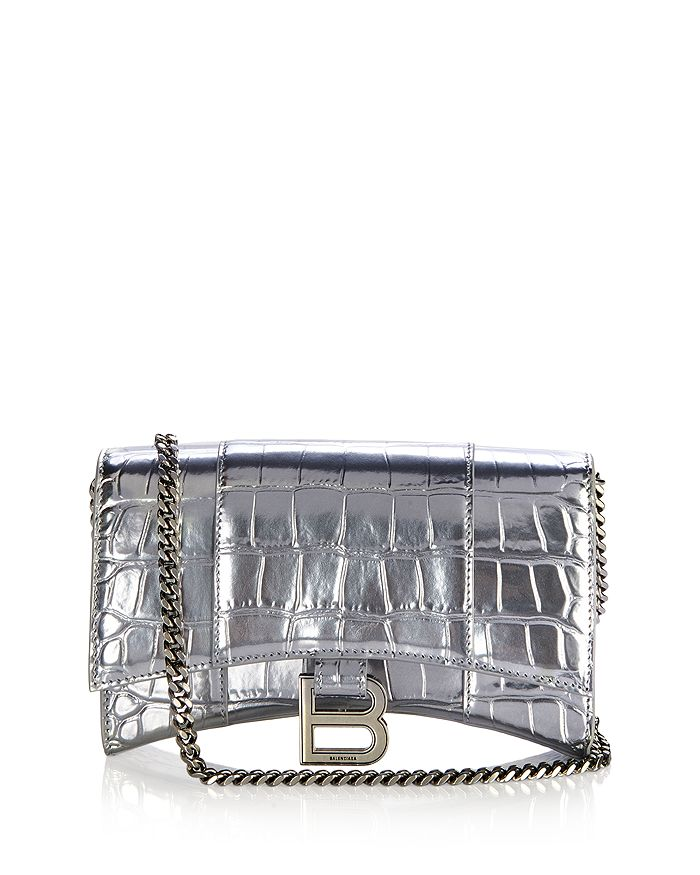 Balenciaga - Hourglass Croc Embossed Chain Wallet