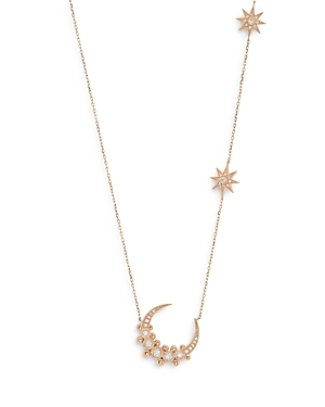 18K Yellow Gold Galaxia Diamond Moon & Stars Statement Necklace