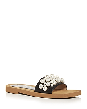 Stuart Weitzman WOMEN'S GOLDIE EMBELLISHED SLIDE SANDALS