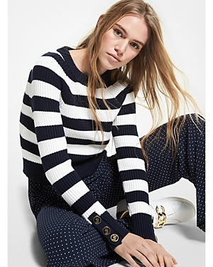 Michael Michael Kors STRIPED BUTTON CUFF SWEATER