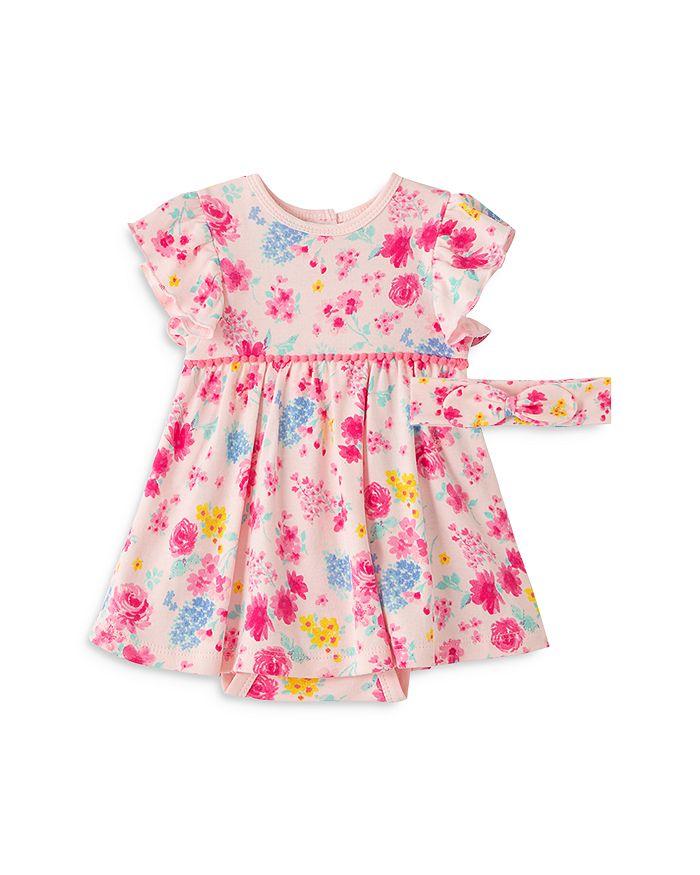 Little Me GIRLS' FLORAL BODYSUIT DRESS & HEADBAND SET - BABY