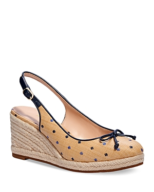 Kate Spade Wedges KATE SPADE NEW YORK WOMEN'S PANAMA NIGHTS BOW SLINGBACK ESPADRILLE WEDGE SHOES
