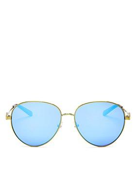 Tory Burch - Women's Polarized Brow Bar Aviator Sunglasses, 56mm
