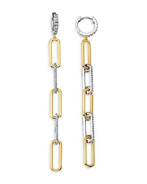 Two Tone Open Link Drop Earrings