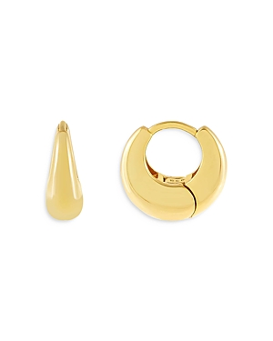 Adinas Jewels WIDE HUGGIE HOOP EARRINGS IN GOLD TONE STERLING SILVER