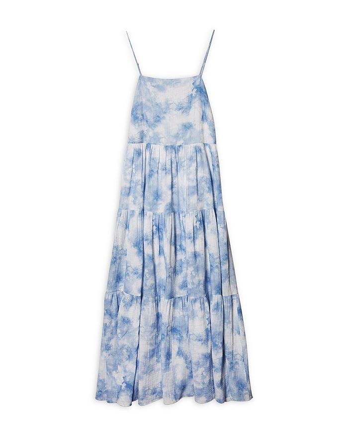 JONATHAN SIMKHAI Cottons CLARISSA TIE DYED COTTON COVER-UP MAXI DRESS